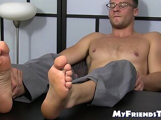 Cumshot,Feet,Massage,piercing,hunk,foot fetish,socks,glasses,bald, toes, feet licking, soles,MyFriendsToes,Bare Feet,gay Classy office stud feet worshiped by wolf manager
