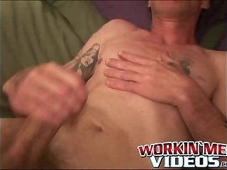 Cumshot,Amateur,Masturbation,Solo,Mature,hairy, tattoos,workinmenvideos,gay Old man with mustache strokes his long dick until he cums
