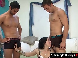 Amateur,Big Cock,Tattoo,Threesome,Blowjob,hardcore,spitroast,cowgirl,StraightBoysFuck,gay Alleged straight friends have threesome with lusty babe