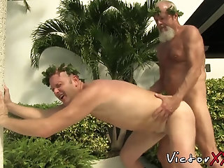 Cumshot,Big Cock,Mature,Bareback,outdoor,gay sex,hardcore,big dick,gay porn,daddy,cosplay,hardcore gay,victorxxx,senior,gay Daddy Caesar bare banging tight slave ass by the poolside