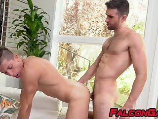 Anal,Big Cock,Blowjob,hardcore,hunk,big dick,stud,muscle,gay couple,abs,passionate,falcongay,gay Horny homo with a booty gets mouth and ass fucked hard