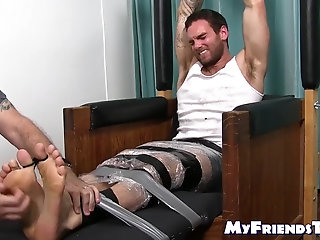 Bondage,Feet,hunk,licking,foot fetish,stud,socks,tickling, toes, soles, tickle fetish,MyFriendsToes,Bare Feet,feet lickling,gay Gorgeous hunk Chase Lachance submits to tickling master