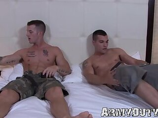 Tattoo,Uniform,Blowjob,Bareback,gay,big dick,jock,military,athletic,abs,army,soldier,ArmyDuty,troop Athletic tattooed soldiers kiss and bareback passionately
