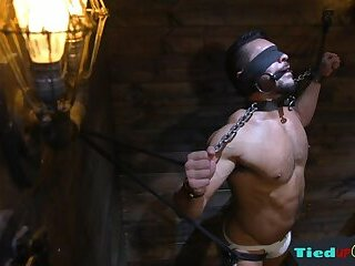 Body Builders,Bondage,bdsm,muscle,duungeon,gay Flogged muscly bottom punished and bound