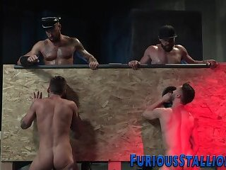 Bears,Bisexual,Blowjob,bdsm,cock 2 cock,gay,HD Muscled tattooed bears suck gloryhole dongs