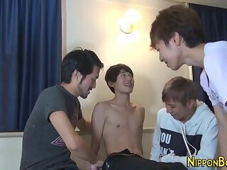 Asian,cock 2 cock,gay Japanese teen group cum and shower