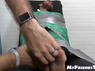 Bondage,Feet,foot fetish,socks,bound,jock,tickling,beard, toes, tied up, soles,MyFriendsToes,Bare Feet,feet tickling,gay Bearded restrained jock Chase Lachance tickled by master