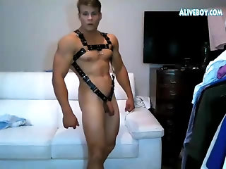 Amateur,Masturbation,Solo,webcam,Body Builders,Homemade,Hunks,muscle,jocks,gay porn,leather fetish,handsome boy,gay muscled hunk in leather shows off his sexy body