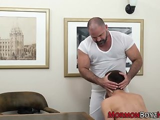 Cumshot,Uniform,Blowjob,Bareback,gay Mormon bishop fucks raw