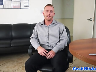 Anal,Masturbation,Office,gay Office employee is made to fuck is his boss