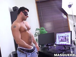 Masturbation,Solo,Big Cock,Fetish,muscle,big dick,stud,hairy,jock,Muscular,abs,mask,Masquerbate,gay Muscular stud jerking off while wearing a dark leather mask