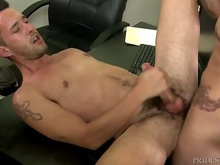 Anal,Cumshot,Hunks,Office,gay,suit dudes Over thirty Office Desk suck And nail