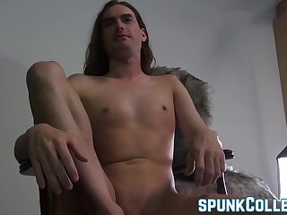 Cumshot,Masturbation,Solo,Big Cock,hardcore,toys,fleshlight,young, smooth, anal play,SpunkCollege,gay Long haired deviant tugs cock before fleshlight session