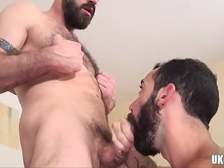 Bears,Blowjob,bear,muscle,hairy,gay Hairy bear threesome and creampie