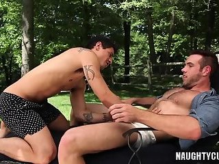 Anal,Outdoors,Rimming,Tattoo,gay,latin Latin gay anal sex with cumshot