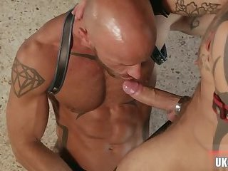Domination,Fetish,Tattoo,gay,muscle,sling Muscle gay fetish with cumshot