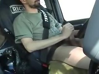 Amateur,Masturbation,Solo,car,gay French trucker jerks his cock while driving