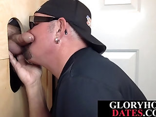 Anal,Bisexual,Fucking Machines,bdsm,jocks,cock 2 cock,gay,HD Gloryhole stud eagerly sucking dick through wall before anal