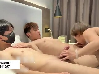 Anal,Asian,gay Two Chinese boys fucking with crossdresser