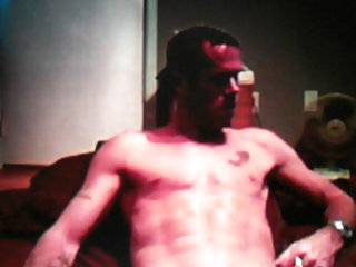 Toned sexy dude shows off his huge soft cock on cam