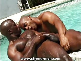 gay Pool threesome with two black guys