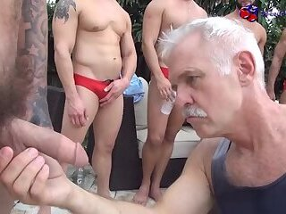 Handjob,group sex,daddy,bear,cocks,speedos,coach,gay-group,lycra,red speedo,swimmers,swim team,gay Speedo Inspection from Daddy