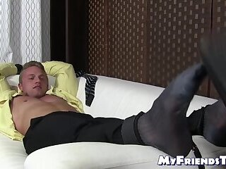 Feet,muscle,foot fetish,socks,bound,tickling,toes,tied up,MyFriendsToes,Bare Feet,men in suits,feet tickling,gay,HD Young bound jock laughs while his captor tickles his feet