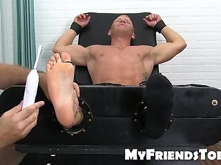 Feet,Fetish,foot fetish,muscle,jock,tickling,worship, toes,MyFriendsToes,gay,Johnny V Muscular feet lover tickled until he cant take it any more