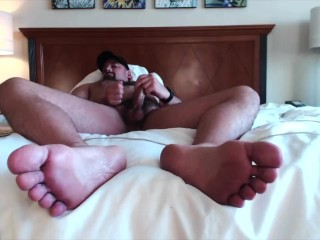 hairy;beefy;muscle;masculine;jock;flex;pits;feet;big;feet;cum;on;feet;bro;worship;pov;giant;dom,Muscle;Solo Male;Gay;Bear;Hunks;Jock;Cumshot;POV;Feet Masculine Muscle Jock Flexing, Cumming on Huge Bare Feet