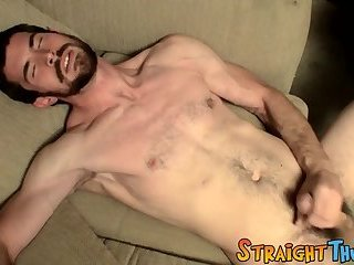Cumshot,Masturbation,jerking off,jacking off,straight,jock,young men,StraightThugs,gay Bearded stud Hunter wanks off and cum blasts on himself
