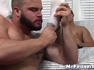 gay,jerking,hunk,small cock,beard,toes,soles,MyFriendsToes,foreplay,ken ott,HD Bearded bear tugs his small cock while licking sexy feet