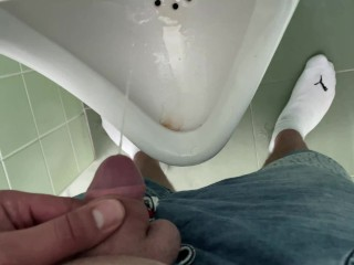 public;urinal;pissing;cum;toilet;small-dick;little-dick;gay;bisexual;chubby;solo-male-wanking;european;masturbation;tiny-dick;fat-man;piss,Masturbation;Public;Solo Male;Russian;Czech;60FPS;Exclusive;Verified Amateurs;Pissing Public toilet - little penis cums into urinal