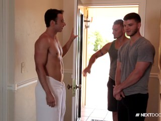 nextdoorbuddies;next-door-buddies;hunk;muscles;blowjob;anal;safe-sex;threesome;outdoors;rimming,Group;Gay;Public NextDoorBuddies Poolside Massage Threesome FUCK