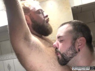 hairyandraw;gaysex;closeup;shower;hairy;bear;chub;tattoo;beard;fetish;analplay;rimjob;assfucking;unsaddled;bareback,Bareback;Fetish;Gay;Bear;Cumshot Chubby bear cocksucked during shower