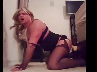 Men (Gay);HD Gays Cock hungry sissy playing with her dildo