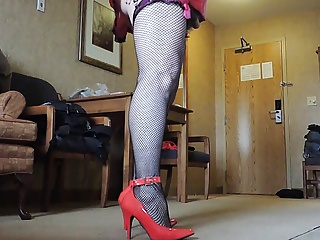 Crossdressers (Gay);Gay Porn (Gay);Men (Gay);HD Gays;Fishnet Stockings;Black and Red;Red Stockings;Red Black;Fishnet;Black Stockings;Sissy;Black Sissy Ray in Red Miniskirt and Black Fishnet Stockings